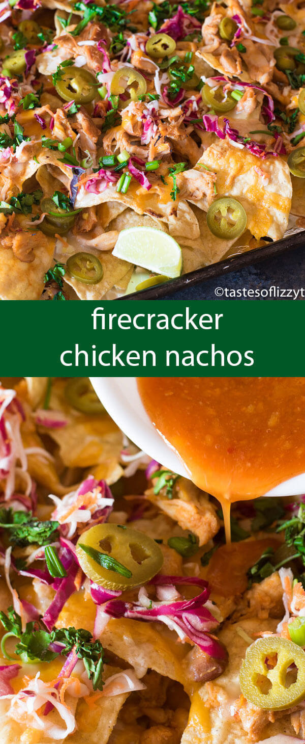 Firecracker Chicken Nachos pack a flavor punch with spicy buffalo sauce and sweet chili sauce. Slow cook the chicken a day in advance for quick, 15 minute meal on those busy evenings.