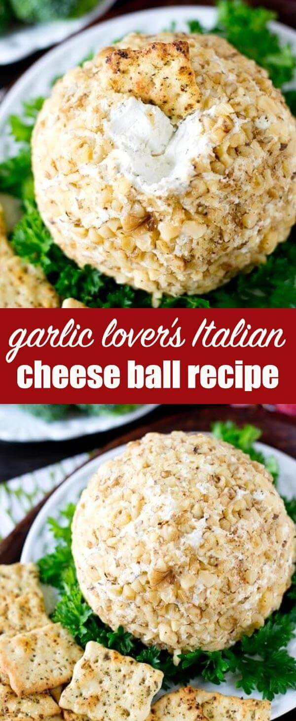 This Garlic Cheese Ball pairs perfectly with Italian herb crackers for a simple, 5 minute appetizer that is full of garlic cheese flavors.