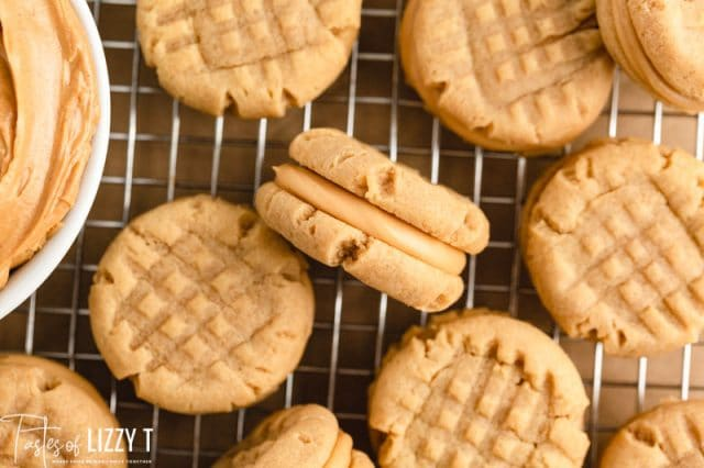 peanut butter cookies on a wire rack
