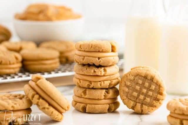 stack of cookies with a cup of milk