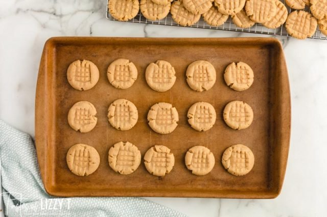 baked peanut butter cookies on a pan