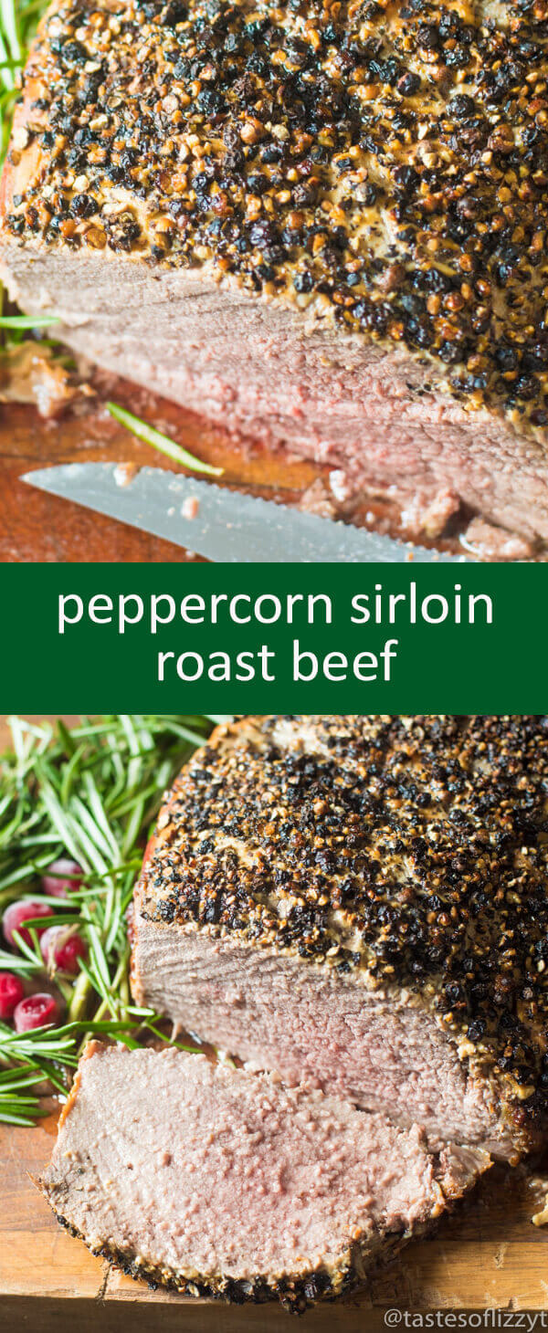 Sirloin Roast Beef with a 3 ingredient Dijon peppercorn crusted top makes an elegant holiday dinner. Oven roasted to your preference!
