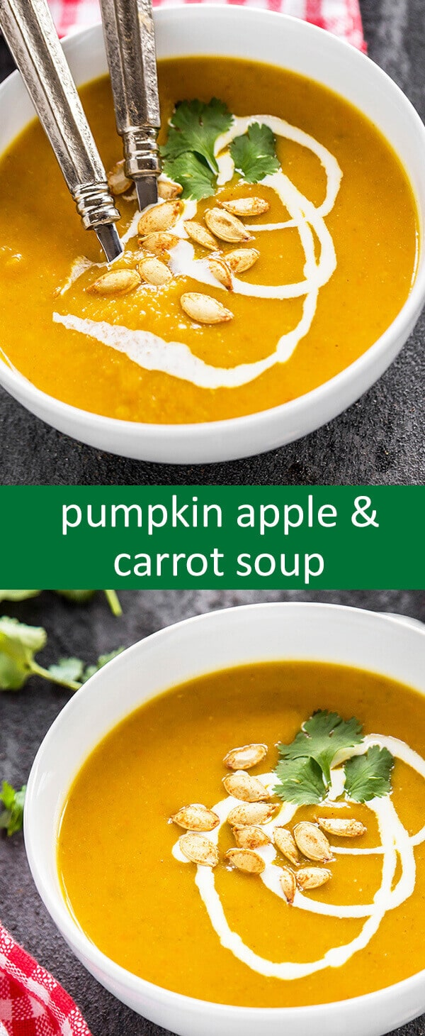 This Pumpkin Apple & Carrot Soup is lightly spiced, really comforting and will warm your guests before the big meal.