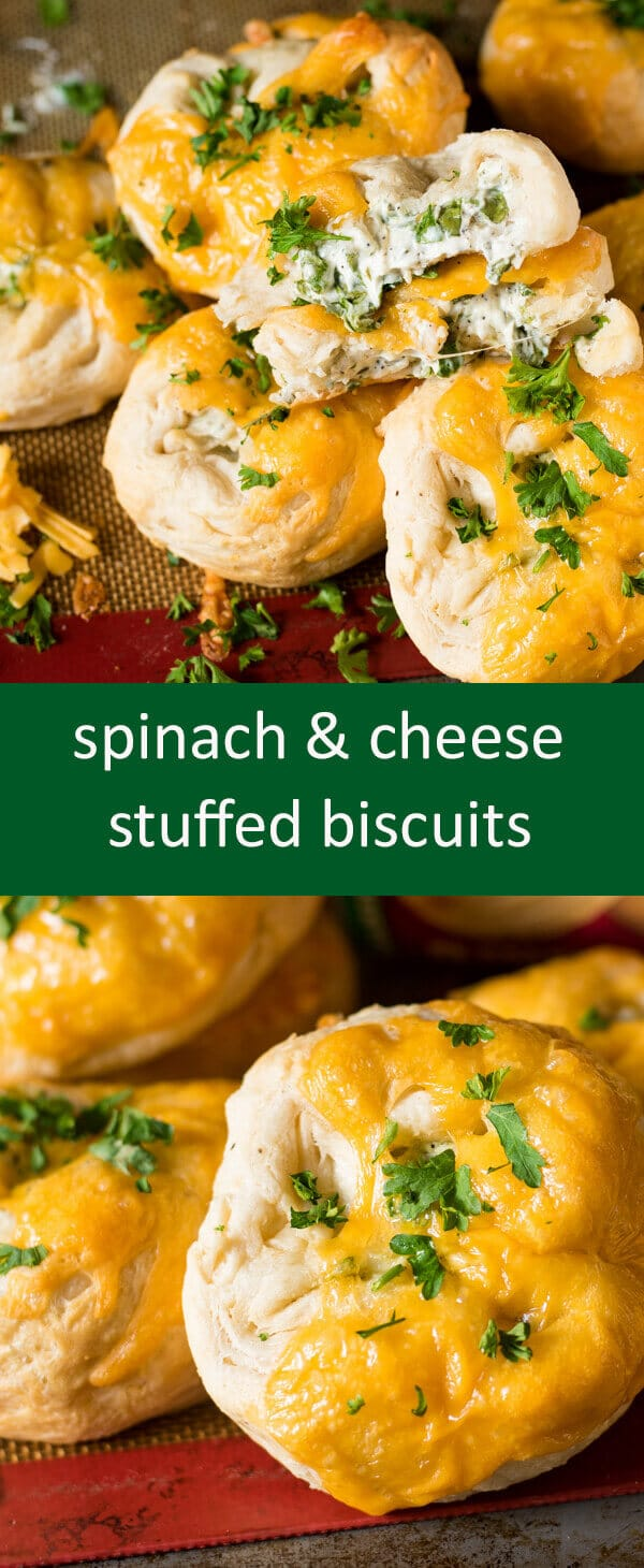 Flaky, store-bought biscuits give a quick start to these spinach & cream cheese stuffed biscuits. Perfect with a bowl of soup!
