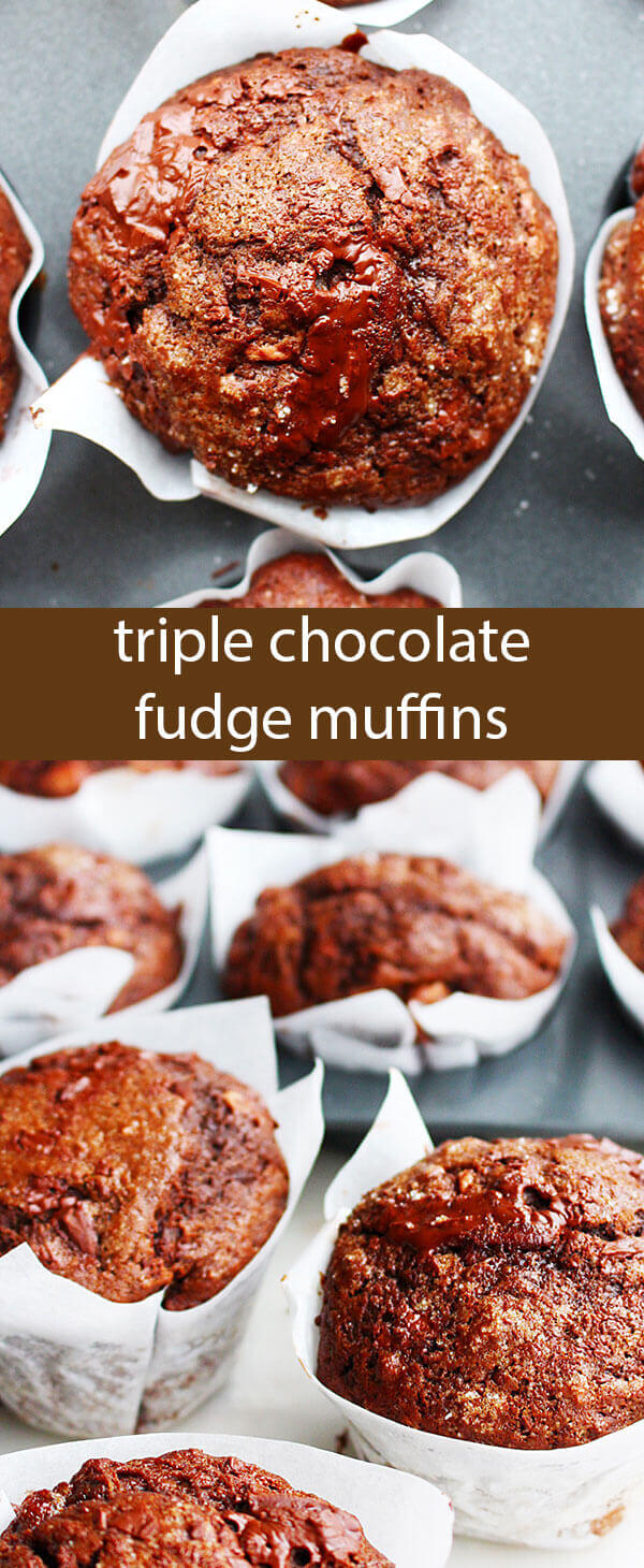 These Triple Chocolate Fudge Muffins are loaded with cocoa powder, milk chocolate chunks and dark chocolate chunks. The coffee and the buttermilk in this recipe keeps the muffins incredibly tender.