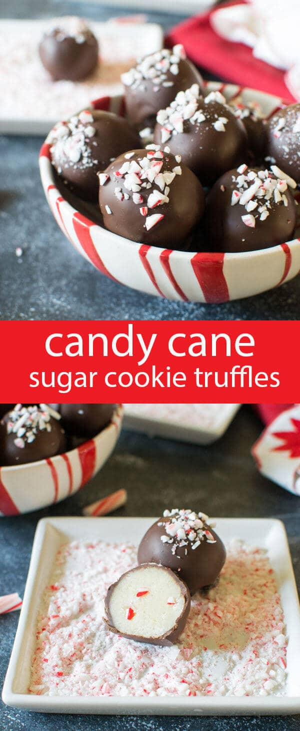 Smooth sugar cookie truffles with a touch of peppermint candy cane crunch inside. Dip in chocolate and sprinkle with candy canes.