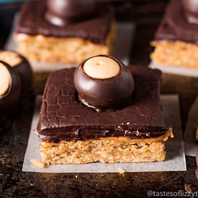 oatmeal bars with chocolate and buckeye on top