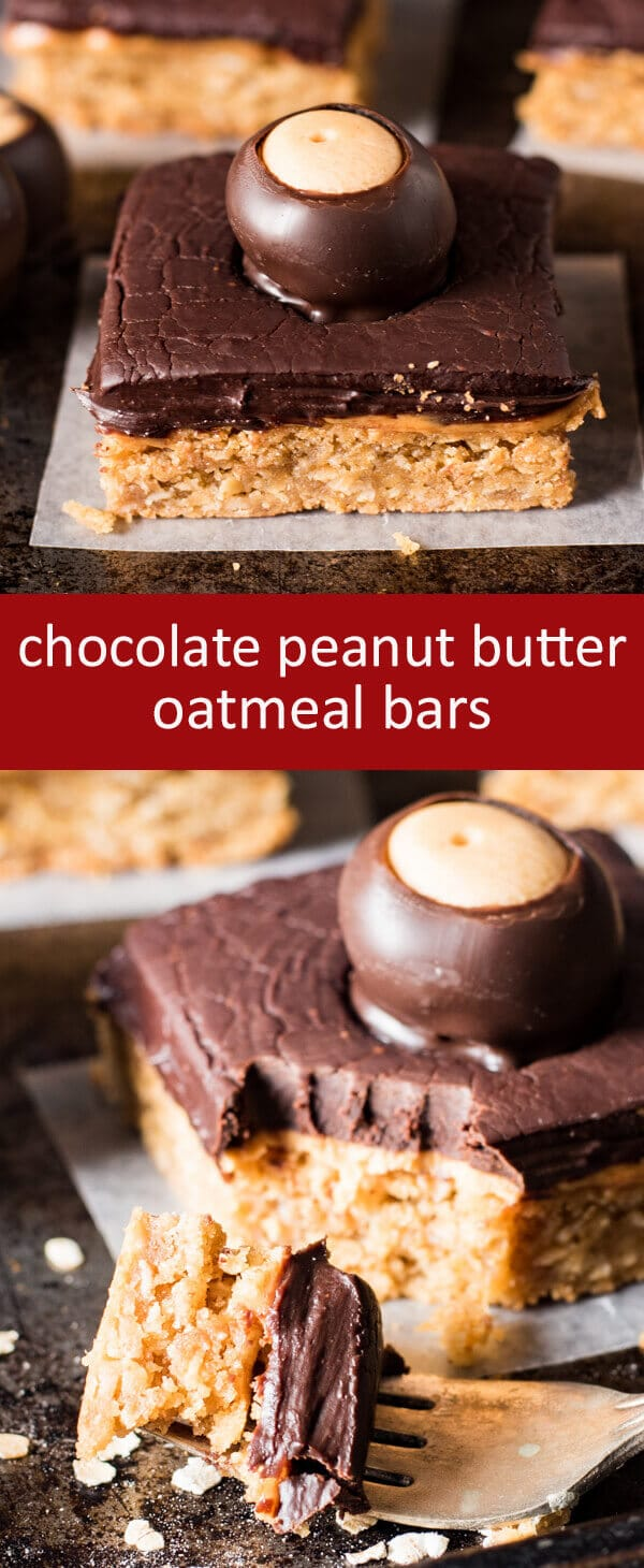 Hearty chocolate peanut butter oatmeal bars are topped with a layer of creamy peanut butter and a thick layer of decadent chocolate ganache.