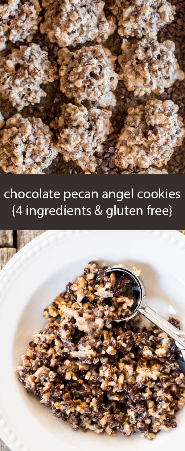 Angel cookies with chocolate and pecans in every bite! 4 ingredient cookies that are gluten free and ready in 15 minutes.
