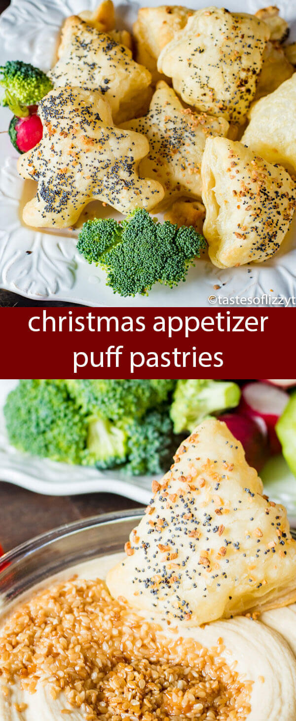Christmas Appetizer Puffs and a festive veggie tray make the perfect pairing with flavored hummus. An effortlessly elegant display.