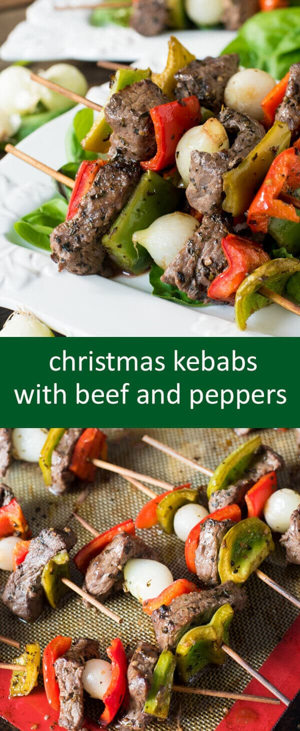 A simple tangy and spicy marinade covers these Christmas kebabs with top sirloin steak, peppers and pearl onions.