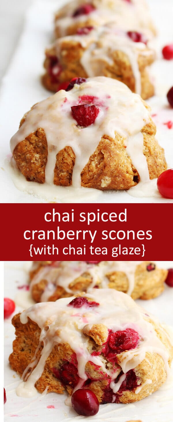 Chai spices bring a hint of warm spice to these Cranberry Scones that compliments the cranberries perfectly. Don't forget Chai tea glaze!