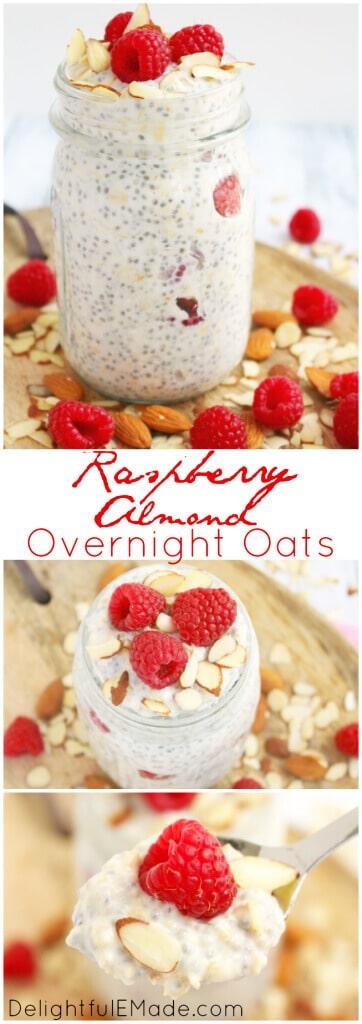 overnight oats / raspberry oats / healthy breakfast / quick breakfast / easy recipe / raspberry almond overnight oats / oatmeal / chia seeds