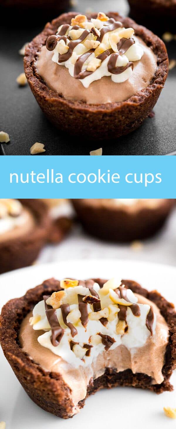 nutella chocolate cookie cups / cookies baked in muffin tins / nutella mousse / chocolate cookie cups / easy dessert recipe / cookies