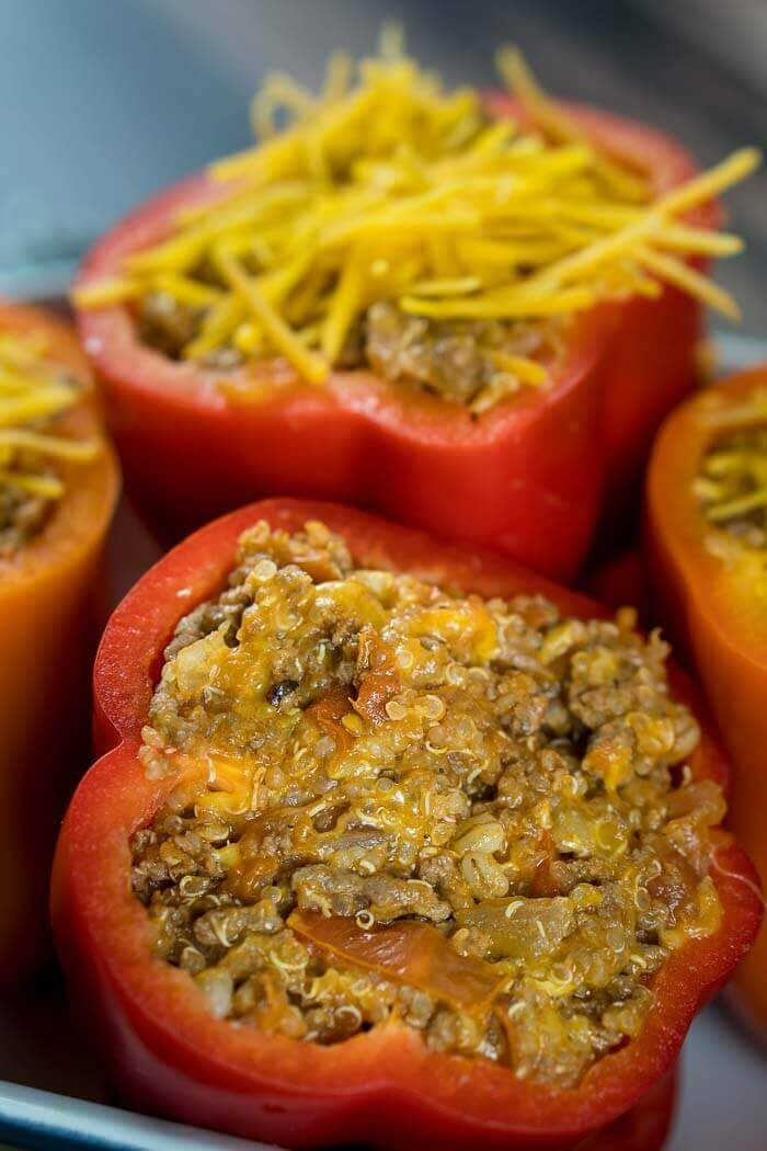 close up of stuffed peppers
