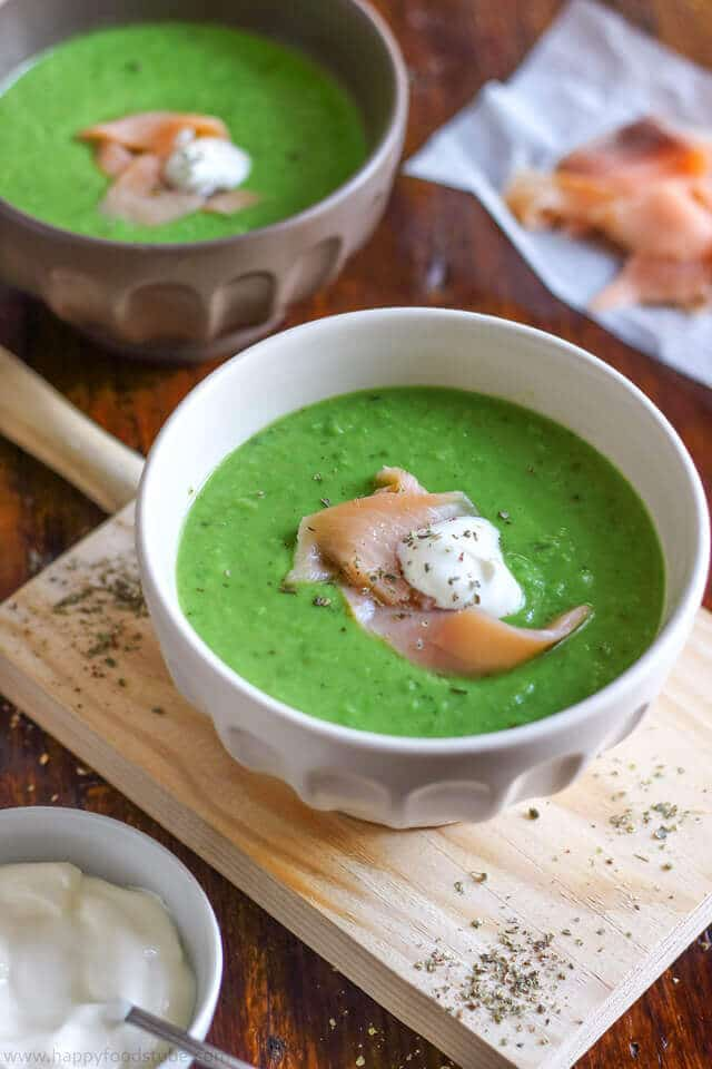 Green Pea Soup with Smoked Salmon