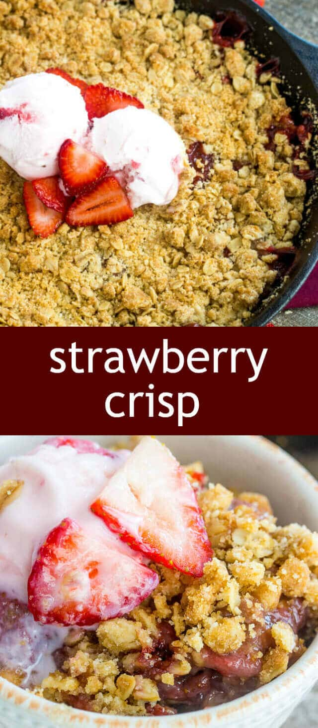Strawberry Crisp homemade/ fresh strawberries / streusel / crisp recipe Crispy, fruity and absolutely delicious this Strawberry Crisp is a fun and tasty treat that whips up in just a few minutes!
