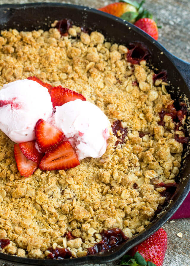 oatmeal topping on strawberry dessert