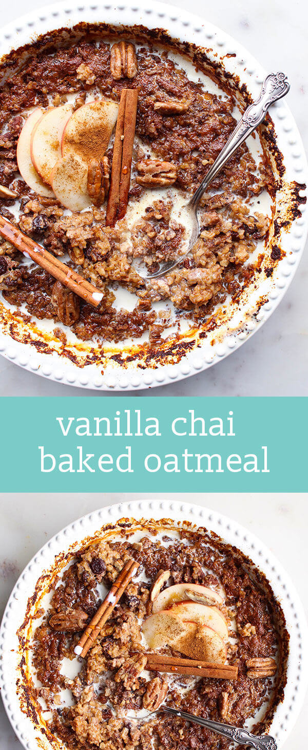 vanilla chai baked oatmeal / breakfast recipe / steel cut oats / pecans, raisins, chai spices / sweetened with maple syrup / brunch recipe