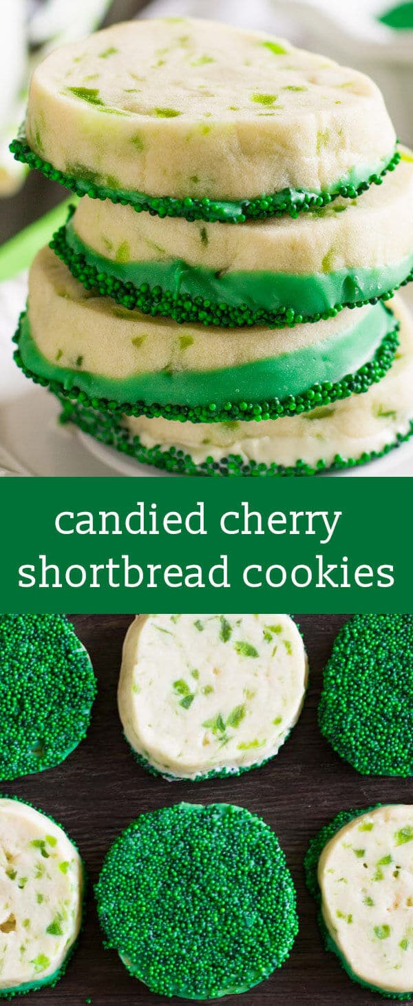 candied cherry shortbread cookies / dipped cookies / easy cookie recipe / st patricks day cookies / colorful cookies / cookies for kids