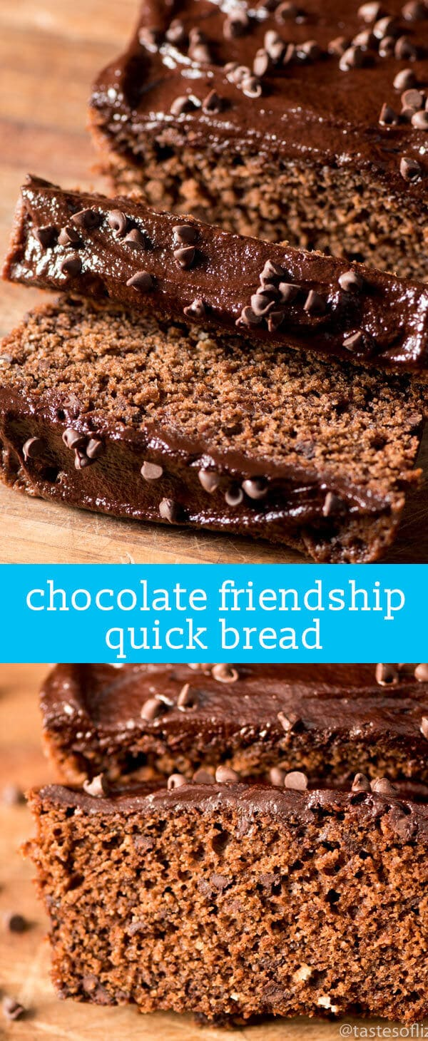 Chocolate Amish Friendship Bread {From Scratch Chocolate Quick Bread with Sweet Sourdough}.  Chocolate Friendship Bread is a from-scratch chocolate quick bread made with sweet Amish sourdough starter. Easy to make and chocolate chips in each bite!