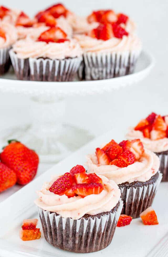 chocolate strawberry cupcakes on a plate