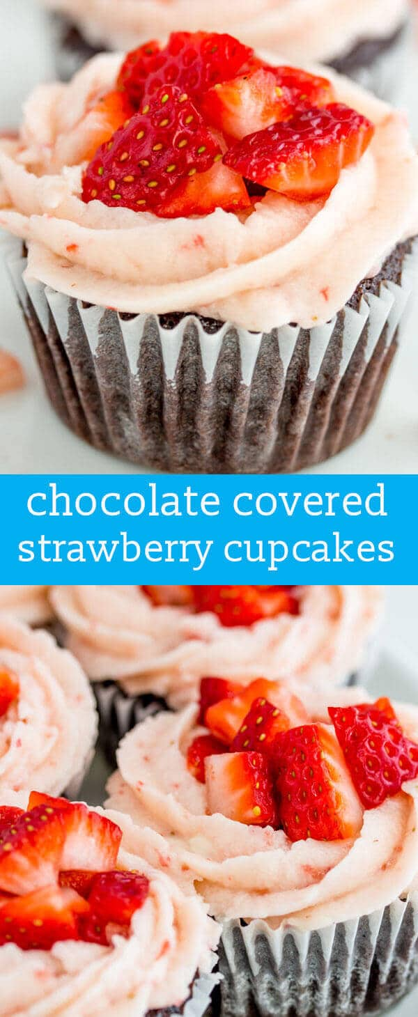 Chocolate Strawberry Cupcakes {From-Scratch Chocolate Cupcakes w/ Strawberry Buttercream} homemade chocolate cupcake / strawberry frosting