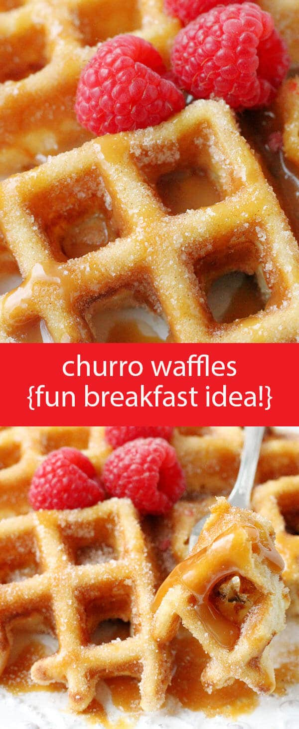 Churro Waffles {Fun & Easy Breakfast Recipe with Cinnamon and Sugar} buttermilk waffles / homemade waffle recipe / churro recipe / churros