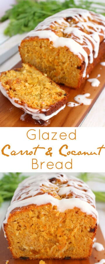 COCONUT CARROT BREAD / Loaded with coconut, shredded carrots and golden raisins and glazed with a cream cheese icing / Quick Bread recipe #easter #quickbread #carrots #coconut #coconutbread #breakfast #brunch