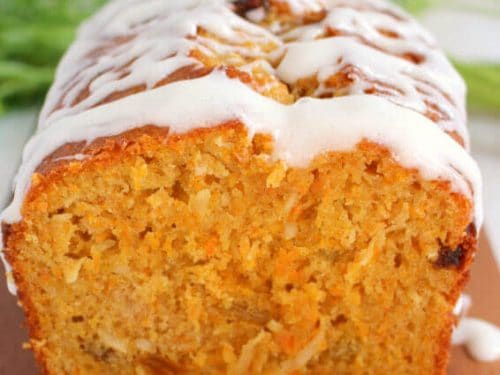 carrot coconut bread quick bread recipe loaded with raisins yogurt