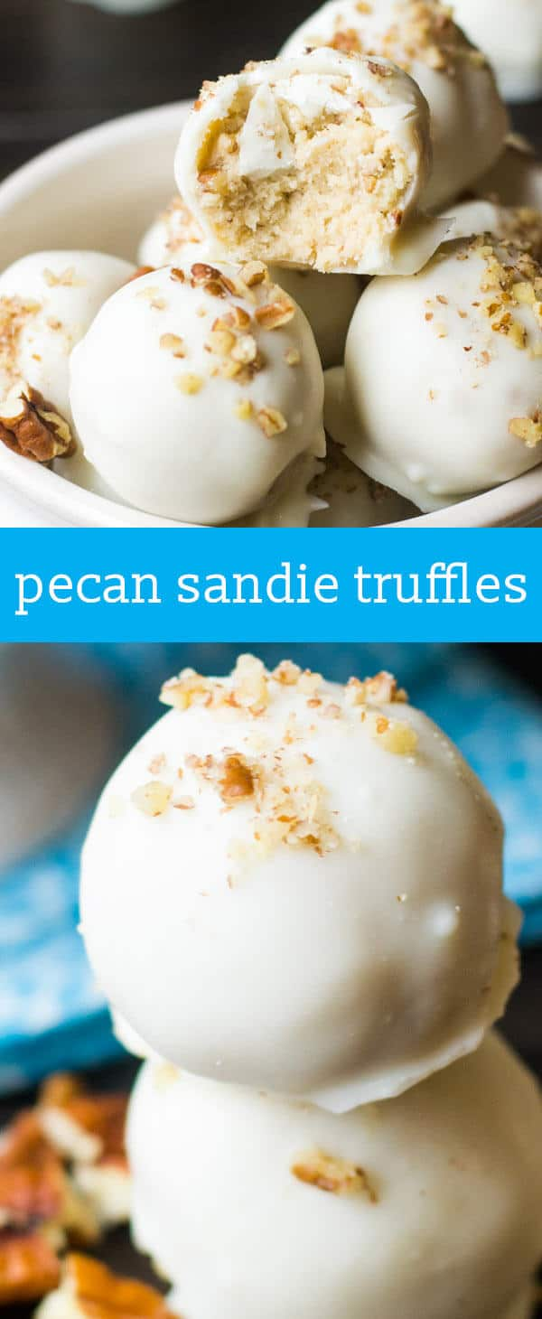 Pecan Sandie Truffles {Easy No Bake Cookie Truffle Recipe with White Chocolate} homemade candy recipe / chocolate dipped truffles