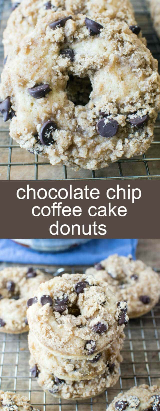 Chocolate Chip Coffee Cake Donuts {A Deliciously Fun Breakfast} donuts/ coffee cake/ chocolate chips Baked Chocolate Chip Coffee Cake Donuts with a butter crumb topping and full of chocolate chips. Perfect for a weekend breakfast treat!