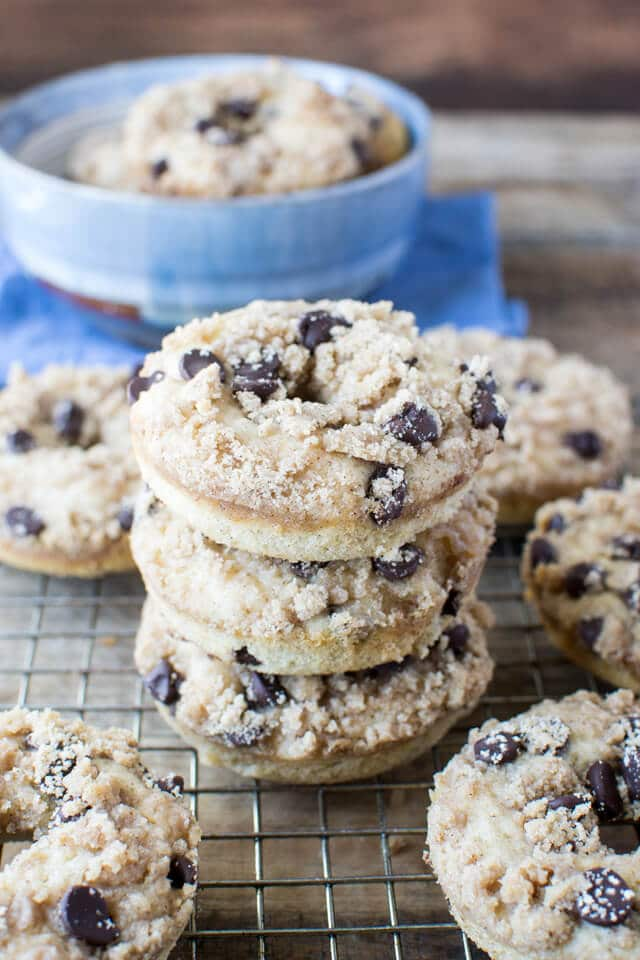 Chocolate Chip Coffee Cake Donuts