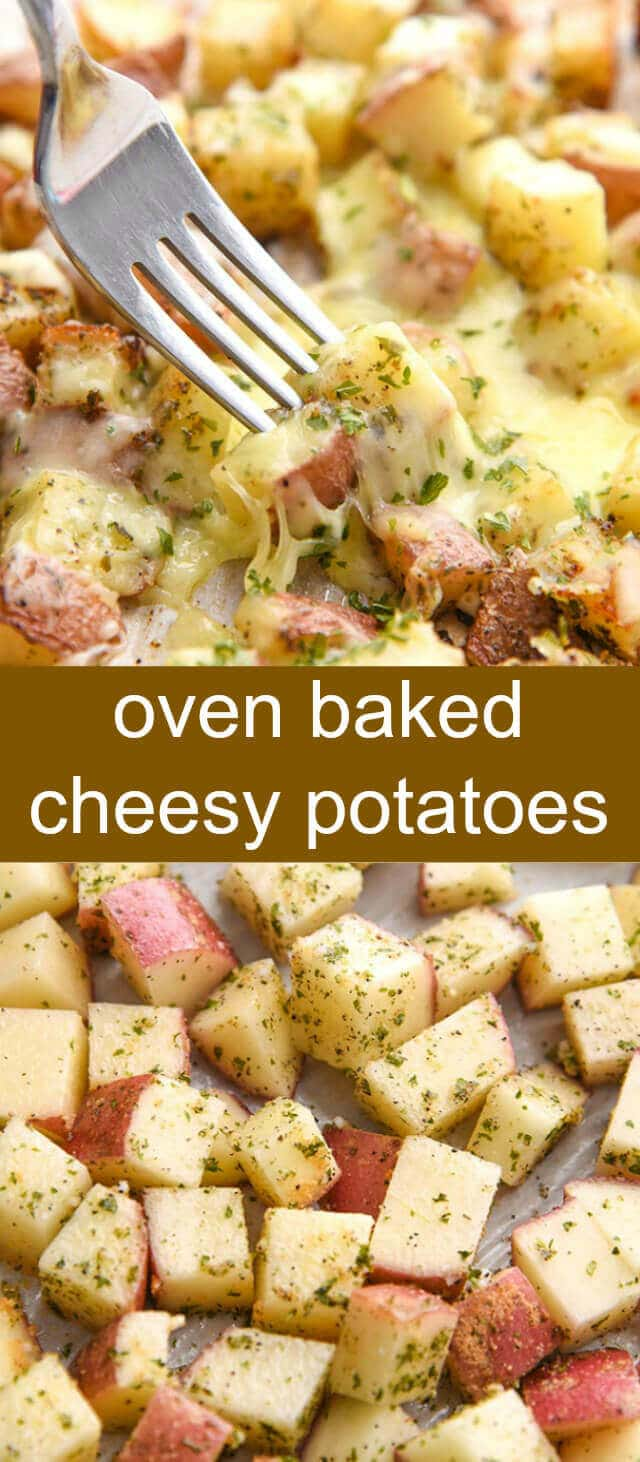 Oven Baked Cheesy Potatoes {A Quick and Easy Side Dish} cheesy/ potatoes/ oven baked Cheesy and delicious these Oven Baked Cheesy Potatoes are quick, easy and are the absolute perfect side dish to any meal!