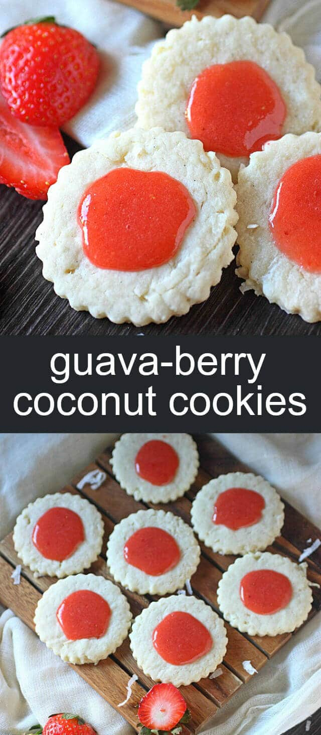 Guava-Berry Coconut Cookies {A Fun Tropical Treat} cookie/ coconut/ guava Spring meets the tropics with these Guava-Berry Coconut Cookies! A cream cheese sugar cookie, folded with tropical coconut and glazed with strawberry guava!