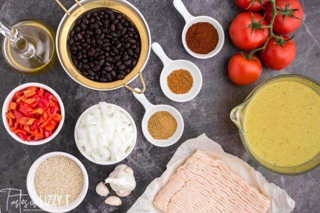 ingredients for black bean chicken chili