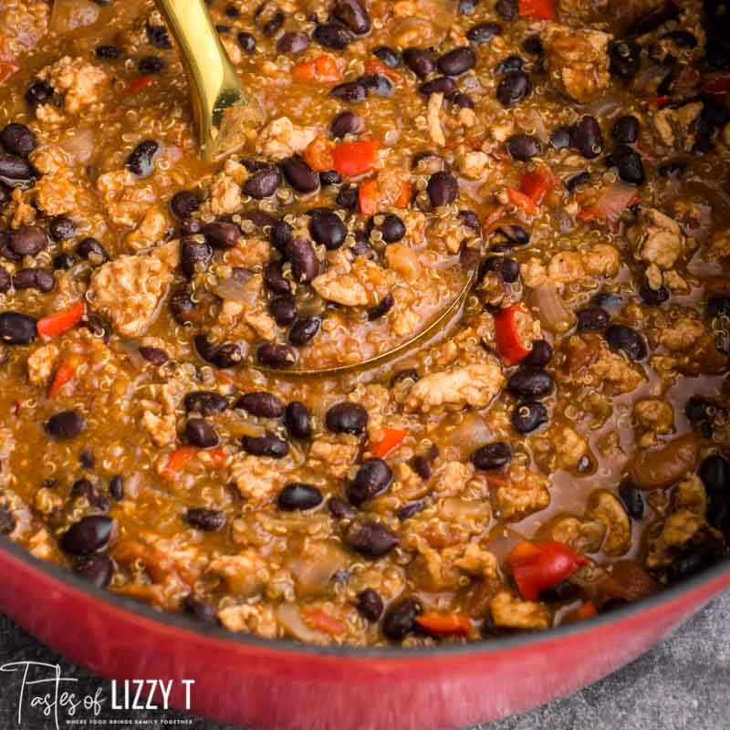 black bean chicken chili in a pot with a ladle