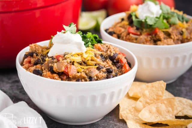 two bowls of black bean chicken chili