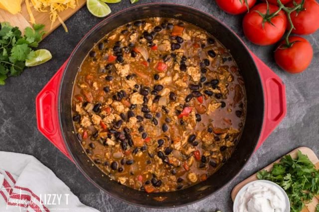 overhead view of pot of chicken chili