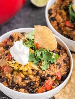 bowl of black bean chicken chili with toppings