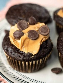 chocolate muffin with peanut butter and chocolate chip