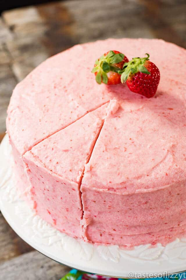 Strawberry Cake From Scratch With Real Strawberries