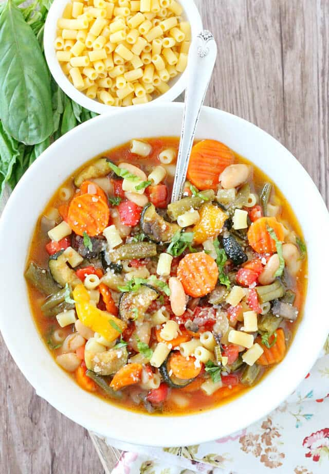 Roasted Vegetable Minestrone Soup {A Wholesome Hearty Meal}