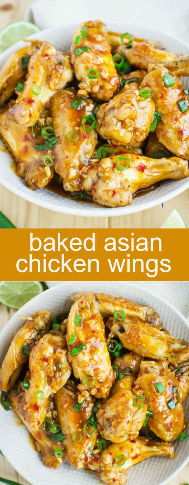 Baked Asian Chicken Wings {A Fun Tangy Appetizer} baked/ chicken/ wings Baked Asian Chicken Wings Recipe - Amazing chicken wings that are baked in an oven and coated with sweet savory and tangy Asian sauce.