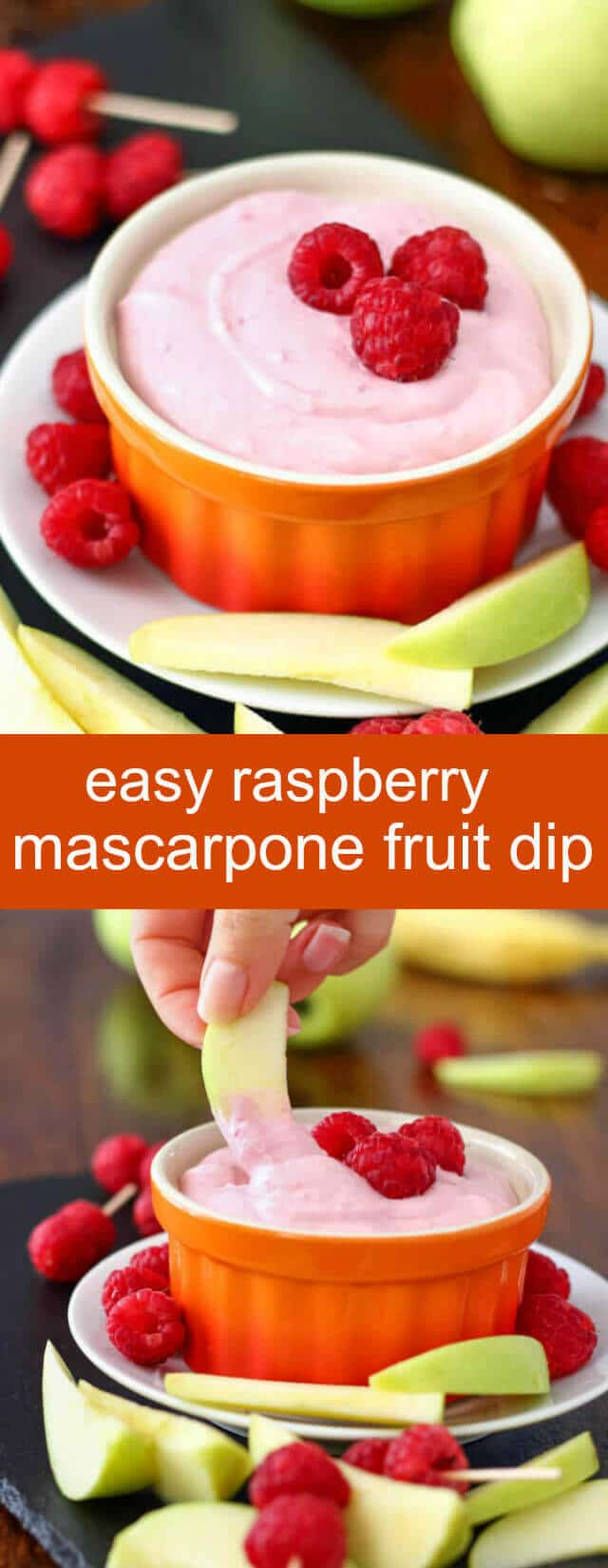 Easy Raspberry Mascarpone Fruit Dip {A Quick Sweet Snack} raspberry/ mascarpone/ dip Easy raspberry mascarpone fruit dip. You only need 4 ingredients; 5 minutes to make this easy raspberry dip! Great for parties, picnics or gatherings!