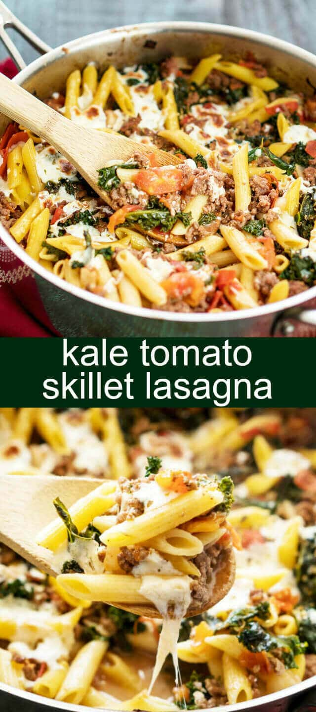 Kale Tomato Skillet Lasagna {A Quick Weeknight Dinner} skillet/ lasagna/ kale Take the stress out of dinner with this Kale Tomato Skillet Lasagna. With fresh mozzarella cheese, kale, tomatoes and pasta it will be a family favorite.