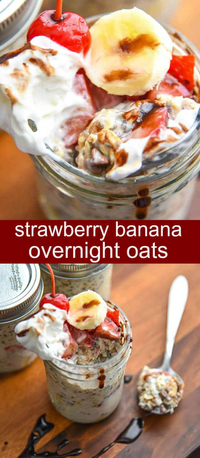 Strawberry Banana Overnight Oats {A Fun No-Fuss Breakfast} overnight oats/ strawberries/ bananas Love breakfast all ready and done for you? What if you could have breakfast that tastes like dessert?! Welcome to Strawberry Banana Overnight Oats!