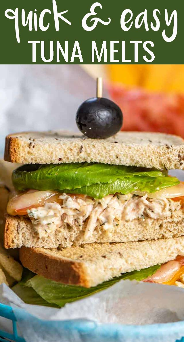 Looking for a quick lunch recipe? Try these 15 minute Three Cheese Tuna Melt Sandwiches. An easy tuna salad recipe with cheese on rye bread. via @tastesoflizzyt