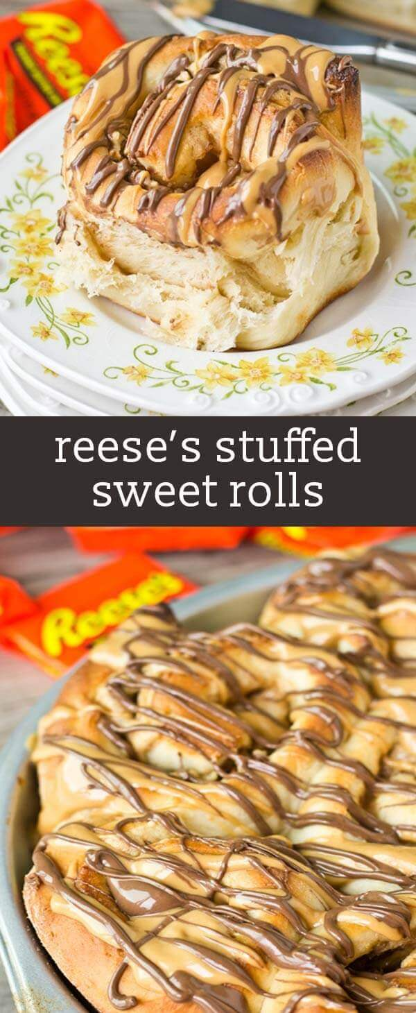 Why not have Reese's peanut butter cups for breakfast? Peanut butter cream and Reese's are stuffed inside this homemade bread. Such a sweet way to start your day! #reeses #chocolate #peanutbutter