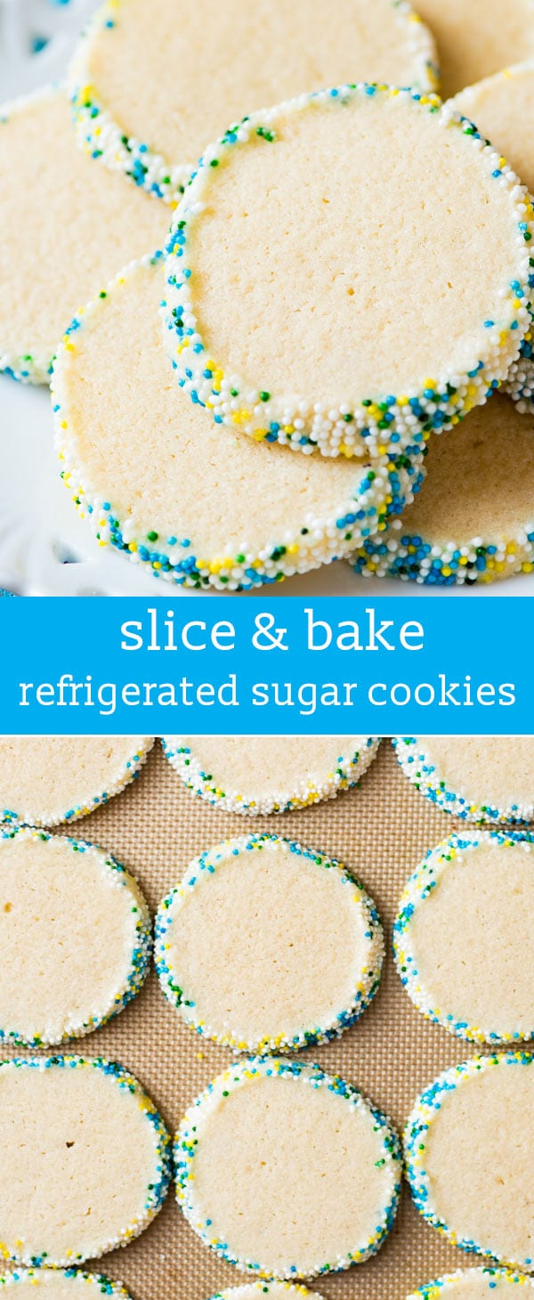 Looking for an easy sugar cookie recipe? You can mix up these Refrigerated Sugar Cookies in just 5 minutes. Perfect for slice and bake cookies! slice & bake / slice 'n bake / quick sugar cookies / overnight sugar cookies